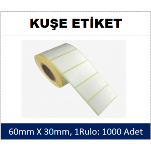 DKY Kuşe Etiket 60x30mm (1 Rulo:1000 Adet)